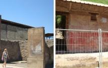 Pintura do edifício em escavação (esq) e pixações nas paredes (dir)