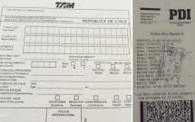 Formulário a ser preenchido (esquerda) e Documento PDI entregue na imigração (direita)