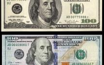 Notas novas de 100 dólares que são aceitas