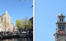 Westerkerk (esq) e o topo da torre Westertoren (dir)