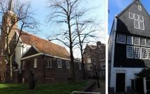 Engelse Kerk (esq) e a casa mais antiga de Amsterdam (dir)
