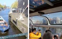 Os barcos que fazem passeios pelas águas de Amsterdam