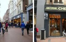 Kalverstraat (esq) e a loja de queijos holandeses (dir)