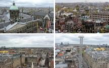 Vista de Amsterdam da roda gigante na Praça Dam