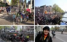 """Haja bicicleta! Na foto temos 3 """"estacionamentos"""" em Leidseplein (esq superior), em Oude Zijde (dir superior) e no Singel (esq inferior). Na última foto, a ciclovia pertinho da calçada."""