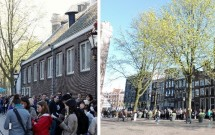 ESQ: a fila que ia em direção a entrada. DIR: A continuação da fila (a Casa de Anne Frank fica atrás desse paredão de prédios)