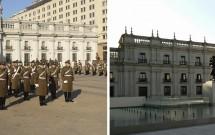 Troca da Guarda e a fachada do Palácio La Moneda para a Plaza de la Cuidadania