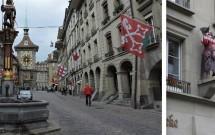 """Os """"porões"""" de Berna e uma das estátuas das fachadas"""