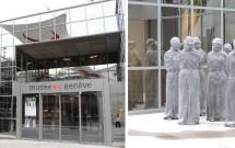 Entrada do Museu da Cruz Vermelha (esq) e a violação dos direitos humanos (dir)