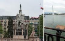 Monumento Brunswick (esq) e o local onde a Imperatriz Sissi foi morta (dir)