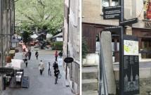 A subida na Cidade Velha (esq) e as placas informativas (dir)