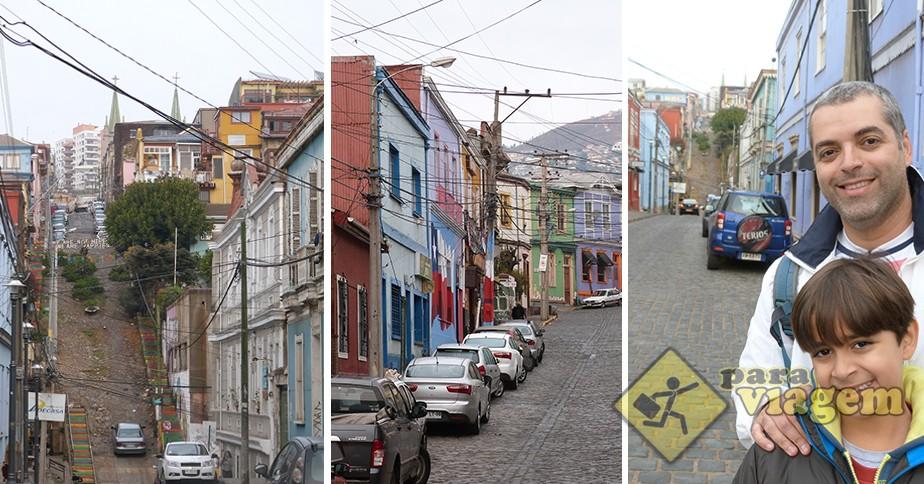 Ladeiras do Cerro Alegre em Valparaíso