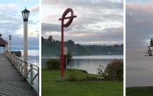 Orla do Lago Llanquihue em Frutillar e as esculturas com referências musicais