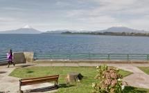Orla de Puerto Varas: Vulcões Osorno (esq) e Calbuco (dir)