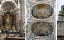 Dom St. Jakob e sua bela decoração barroca. Na foto do meio, os afrescos das cúpulas