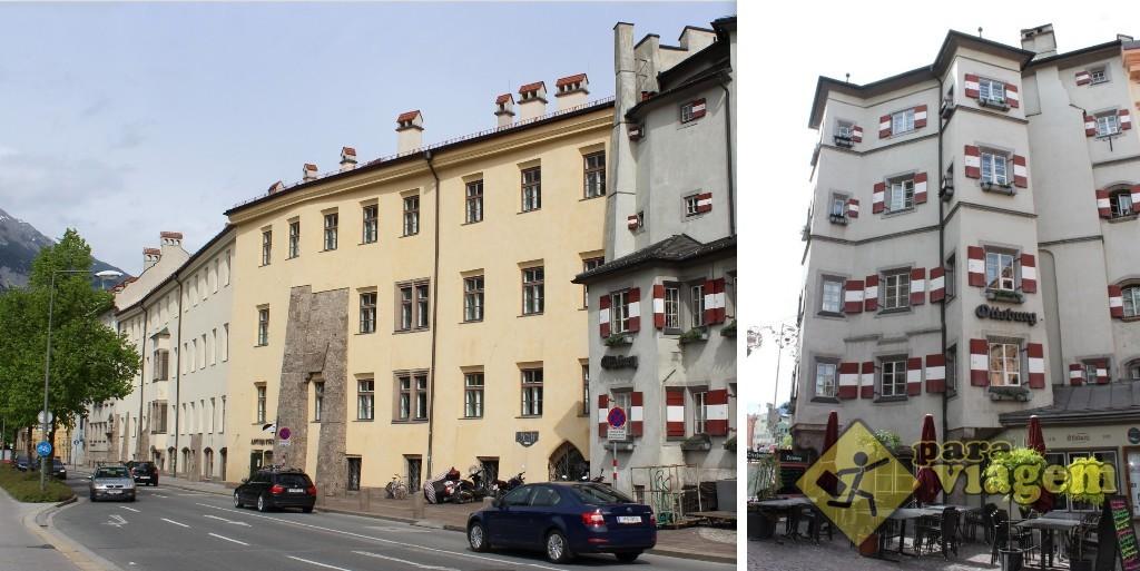 Os vestígios da antiga muralha nos edifícios da rua (esq) e o Ottoburg (dir)