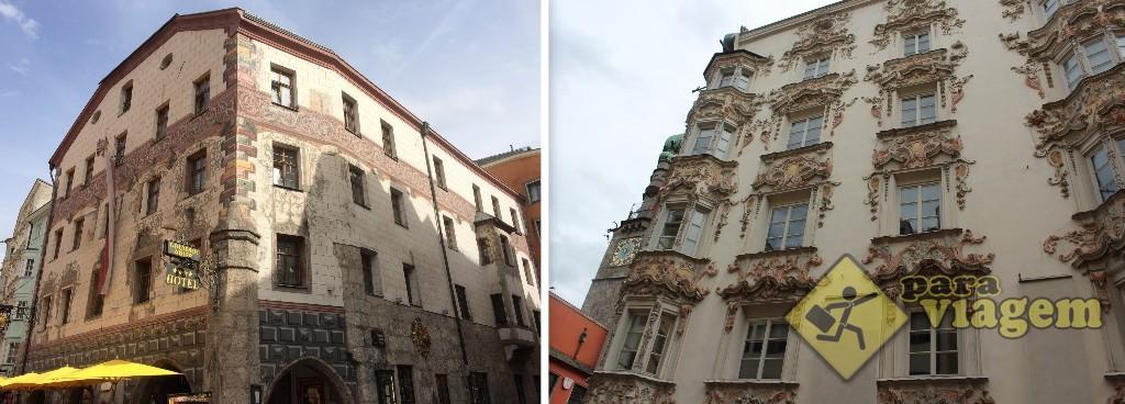 Der Goldenes Adler (esq) e o Helblinghaus (dir)