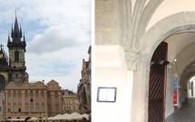 Ig. N. Sra. Diante de Týn escondida pelos prédios (esq) e o portal de acesso a ela (dir)