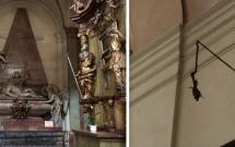 Ig. São Tiago: túmulo de Vratislav de Mitrovic (esq) e o famigerado antebraço (dir)