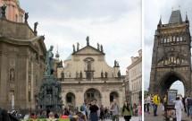 Praça dos Cavaleiros da Cruz (esq) e a Torre da Ponte da Cidade Velha (dir)
