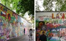 """Muro de John Lennon e a frase adaptada """"War is over"""""""