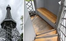 As plataformas da torre (esq) e o banco para descanso na escadaria (dir)