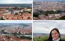 Em sentido horário: Ponte Carlos e Cidade Velha (esq. inferior), Castelo de Praga e Malá Strana (esq. superior) e a Cidade Nova (dir. superior)