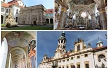 Loreto de Praga: o pórtico decorado (esq. inferior), a Santa Casa (esq. superior), a Ig. da Natividade (dir. superior) e a entrada (dir. inferior)