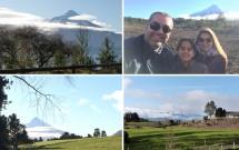 Bela paisagem dos vulcões Osorno e Calbuco na estrada para Saltos do Petrohué