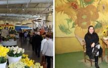 Exposição de flores no Pav. Oranje Nassau (esq) e os girassóis de Van Gogh (dir)