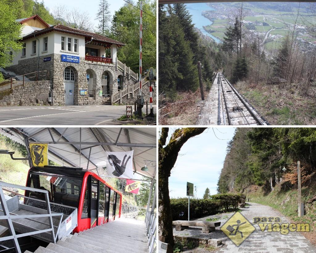 EM CIMA: Estação do funicular em Interlaken (esq) e a subida íngreme (dir). EM BAIXO: Funicular (esq) e a estradinha para o mirante (dir)