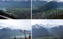 EM CIMA: Vista de Interlaken e os lagos Brienz (esq) e Thun (dir). EM BAIXO: A plataforma do mirante Harder Kulm (esq) e o trio de picos nevados Mönsch, Eiger e Jungfrau (dir)
