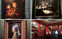 """EM CIMA: A iluminação perfeita da """"Velha e garoto com velas"""" (esq) e a """"Aula de Anatomia do Dr. Tulp"""" (dir). EM BAIXO: """"Moça com Brinco de Pérola"""" (esq) e uma das salas do museu (dir)"""
