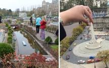 """Brincando com a perspectiva: os visitantes fotografados como gigantes sobre as """"cidades"""" (esq) e """"jogando xadrez"""" com o Nationaal Monument de Amsterdam (dir)"""