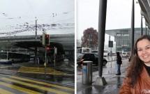 Estação de trem de Lucerna (esq) e o KKL (dir)