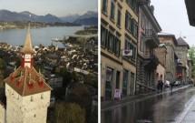 Museggmauer, a antiga muralha de Lucerna. À direita, a rua Museggstrasse que dá acesso à atração