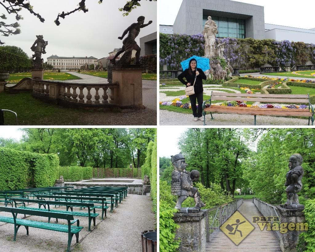 Jardins do Schloss Mirabell. Nas fotos inferiores, vemos o Hedge Theater à esquerda e o Jd. dos Anões à direita.