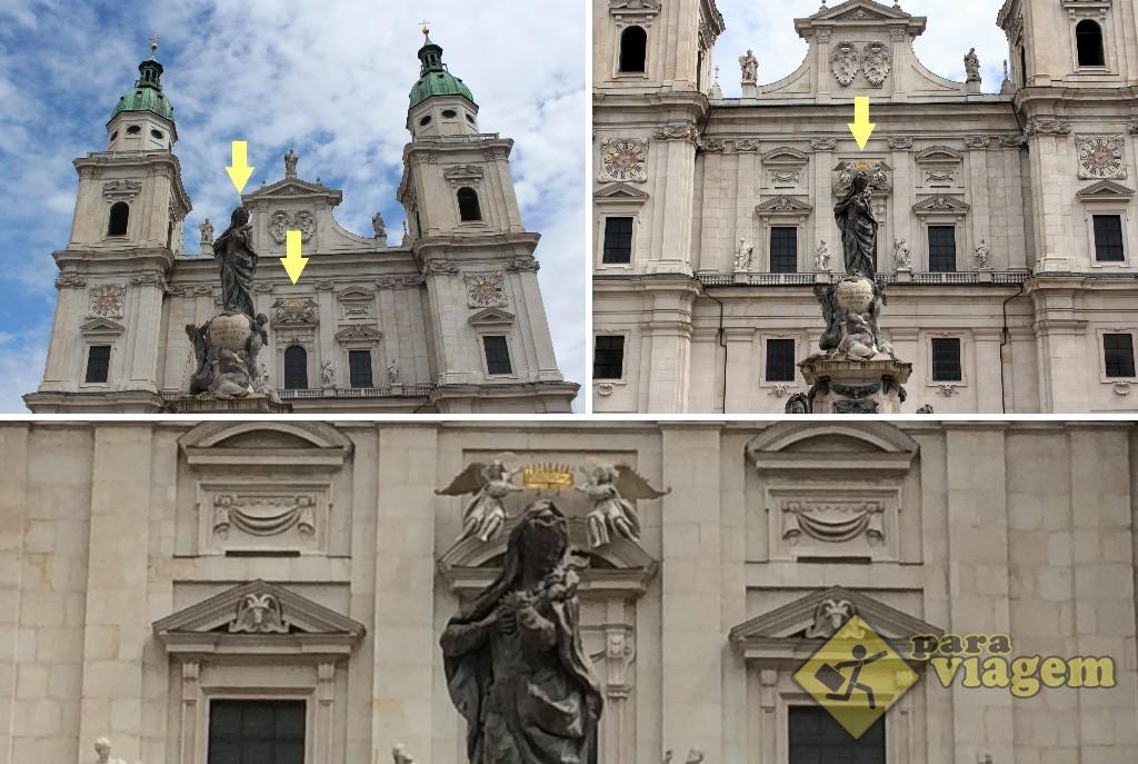 Olhando rápido, é só uma coroa dourada enfeitando uma fachada e uma estátua da Virgem Maria na frente. Mas se olharmos com mais cuidado e por outra perspectiva...