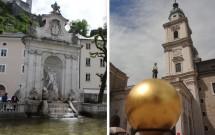 Kapitelplatz: Fonte de Netuno (esq) e a Sphaera (dir)