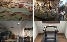EM CIMA: Maquete da Salzburgo medieval (esq) e armas/armaduras (dir). EM BAIXO: Utensilhos de cozinha dos séc. 16/17 (esq) e uma cadeira usada na tortura de presos (dir)