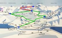 Mapa da região do Jungfrau. Em verde, as linhas que circulam pelos vilarejos. Em vermelho, o trajeto do Jungfraubahnen