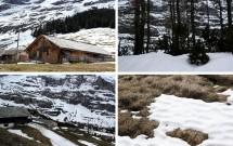 A linda paisagem nevada nas proximidades de Kleine Scheidegg