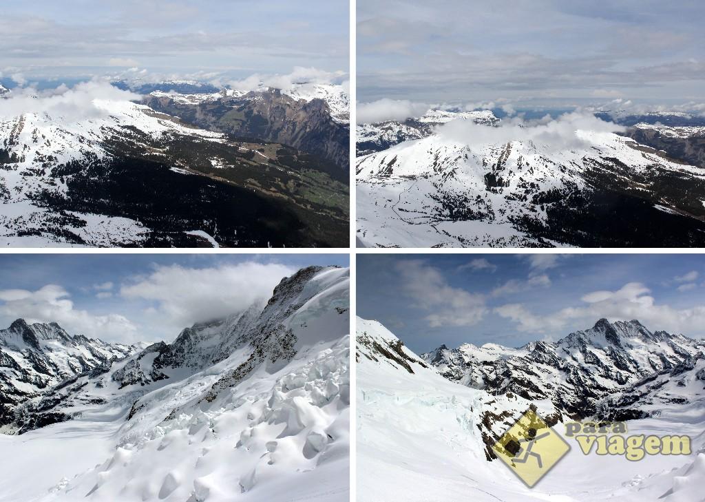 Vista dos janelões nas estações de Eigerwand (EM CIMA) e de Eismeer (EM BAIXO)