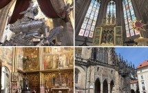 Catedral de São Vito. EM CIMA: Túmulo de São João Nepomuceno (esq) e uma das capelas laterais (dir). EM BAIXO: Capela de São Venceslau (esq) e o portal dourado visto por fora da catedral (dir)
