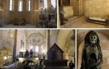 Interior rústico da Basílica de São Jorge, cheia de relíquias fúnebres