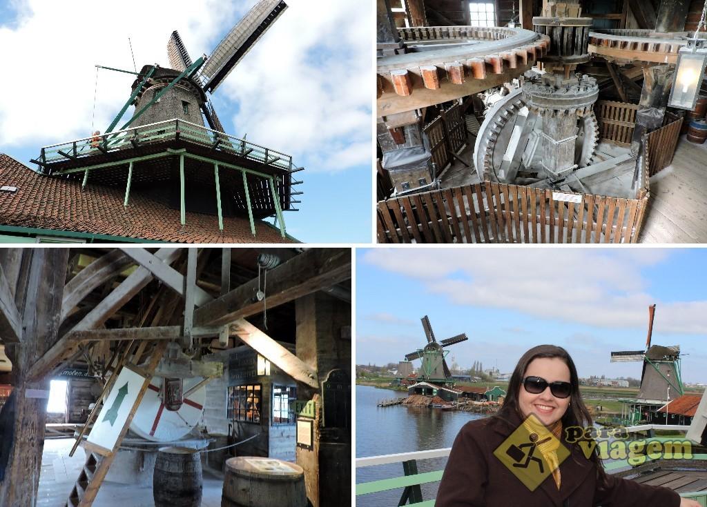 É possível subir à plataforma superior de alguns moinhos em Zaanse Schans. Podemos ver o seu interior, o maquinário e um belo panorama do entorno lá de cima