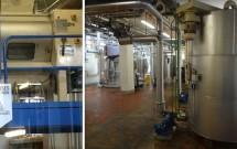 Antigo espaço da fábrica e o maquinário