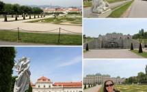 Jardim em descida entre os 2 palácios Belvedere. Na foto de baixo, à esquerda, o Belvedere Inferior (ou Unteres Belvedere)