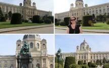 Maria-Theresien-Platz: Os lindíssimos museus gêmeos de História da Arte e de História Natural. Note a estátua da Imperatriz Maria Theresa na foto esquerda inferior