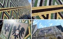 O belo e pitoresco telhado da Stephansdom. Feito de azulejos que formam motivos geométricos e trazem um mosaico com os brasões da Áustria e de Viena (esq inferior) e a águia de 2 cabeças dos Habsburgo (dir inferior)